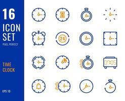 set di 16 icone dell'orologio, stile di linea sottile. vettore