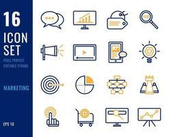 set di icone di linea di marketing vettore