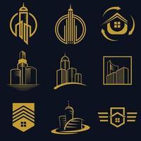 disegno dell'icona di vettore di logo immobiliare per affari e set di società