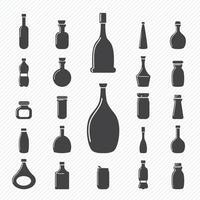 le icone della bottiglia hanno messo l'illustrazione vettore