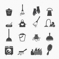 icone di pulizia isolate su priorità bassa bianca vettore