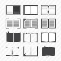 icone del libro isolate su priorità bassa vettore