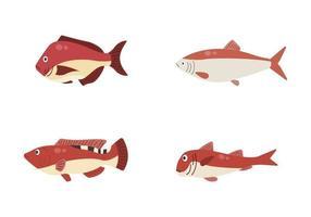 set di pesce di fiume. pesce isolato su sfondo bianco. illustrazione vettoriale. vettore