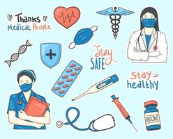 collezione di adesivi medici disegnati a mano colorati vettore