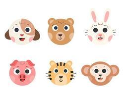 vettore di simpatici animali. faccia del fumetto animale. cane, orso, coniglio, maiale, tigre, scimmia. illustrazione vettoriale.