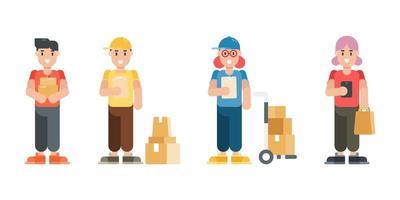set di caratteri uomo e donna di consegna. personaggi moderni di uomo e donna dei cartoni animati in stile piatto. illustrazione vettoriale. vettore