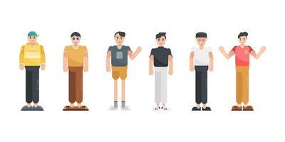 carattere di persone nella collezione di design piatto. personaggio dei cartoni animati moderno in stile piatto. illustrazione vettoriale. vettore