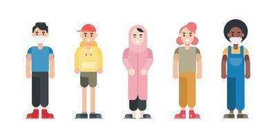 set di personaggi adolescenti. personaggi dei cartoni animati moderni in stile piatto. illustrazione vettoriale. vettore