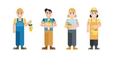 set di personaggi contadini. personaggi moderni di uomo e donna dei cartoni animati in stile piatto. illustrazione vettoriale. vettore