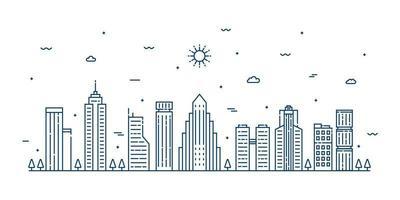 illustrazione del paesaggio della città con uno stile di linea sottile. paesaggio urbano di linea sottile. illustrazione vettoriale. vettore