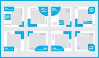 bundle di modelli di banner di social media vettoriali. in azzurro. adatto per post sui social media e pubblicità su Internet sul sito web vettore