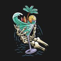 concetto di design estivo spiaggia cranio mano che tiene un bicchiere pieno di onde del mare, alberi di cocco e una tavola da surf vettore