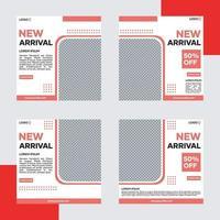 pacchetto di modelli di banner per social media. con il rosso su sfondo bianco. adatto per post sui social media e pubblicità su Internet sul sito web vettore