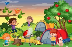 scena di picnic con la famiglia felice in giardino vettore