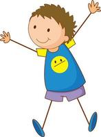 personaggio dei cartoni animati ragazzo carino in stile doodle disegnato a mano isolato vettore