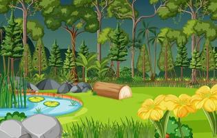 scena della foresta con laghetto e molti alberi vettore