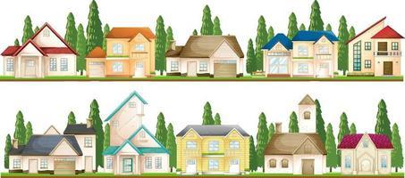 set di case suburbane su sfondo bianco vettore