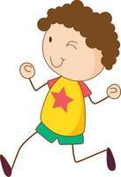 personaggio dei cartoni animati ragazzo carino in stile doodle isolato
