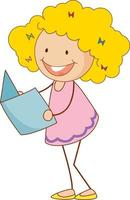 un ragazzino di doodle che tiene un personaggio dei cartoni animati del libro isolato vettore