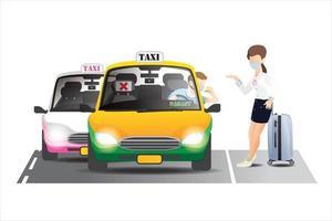 il tassista avverte il passeggero del coronavirus, siediti nella giusta posizione, fumetto illustrazione vettoriale. vettore