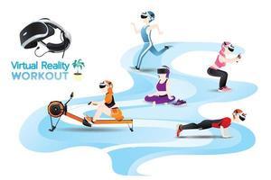 le persone usano la macchina della realtà virtuale per l'allenamento, l'esercizio con l'immaginazione. vettore