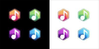 icona della musica impostata su sfondo bianco e scuro vettore