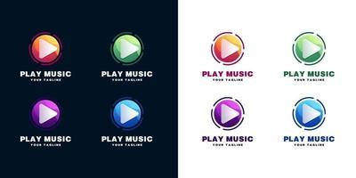 riprodurre musica logo set vettore