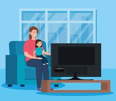 soggiorno a casa campagna con madre e figlia che guardano la tv vettore