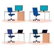 insieme di posti di lavoro con scrivanie e sedie vettore
