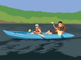 avventura in kayak sul vettore grafico illustrazione