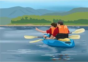 squadra di avventura in kayak vettore