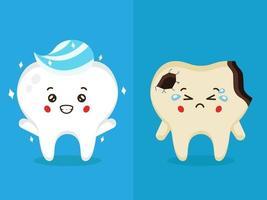 stock vector denti felici e set di denti tristi