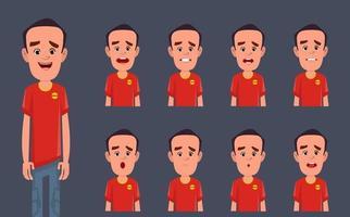 personaggio dei cartoni animati con diversi set di espressioni facciali vettore