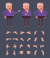 personaggio di uomo anziano con diverse pose e mani per il design, il movimento o l'animazione. vettore