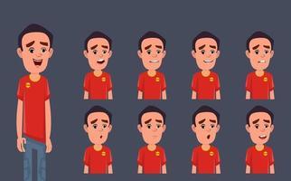 personaggio dei cartoni animati con diverse emozioni ed espressioni vettore