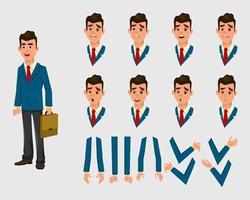 carattere dell'uomo d'affari per l'animazione. diverse emozioni del viso e mani per il design, il movimento o l'animazione. vettore