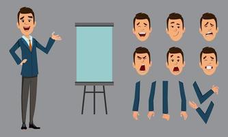 stand di uomo d'affari con scheda di presentazione. carattere di uomo d'affari con diverse emozioni del viso e mani per design, movimento o animazione. vettore
