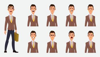 uomo d'affari con illustrazione di carattere vettoriale stile piatto diversa espressione facciale per la progettazione o l'animazione.