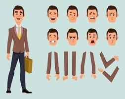 carattere di uomo d'affari con diverse espressioni facciali e pose della mano. character design in stile piatto per design, movimento o animazione. vettore
