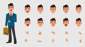 carattere dell'uomo d'affari con diversa espressione facciale o emozioni e mani per design, movimento o animazione. vettore