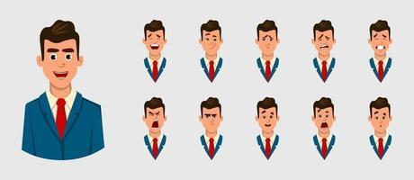 uomo d'affari diverse emozioni facciali per animazione, movimento o qualcos'altro. illustrazione di carattere vettoriale per la progettazione o l'animazione.