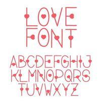 amore font con forma di cuore vettore