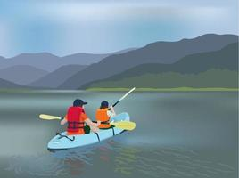 kayak squadra avventura illustrazione grafica vettoriale