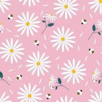 daisy land seamless con sfondo rosa vettore