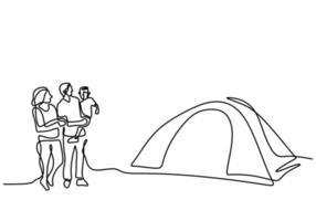 un disegno a tratteggio del campeggio familiare. padre, madre, figlia e figlio che fanno picnic con una tenda all'aperto. trascorrere le vacanze in campeggio. vacanza nella natura. stile minimalista. illustrazione vettoriale
