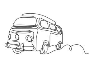 disegno linea continua camper. un camper per viaggiare isolato su sfondo bianco. il concetto di muoversi in un camper, campeggio familiare, campeggio, roulotte. illustrazione vettoriale