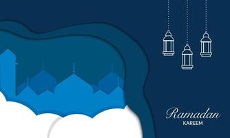 ramadan kareem in stile carta vettore