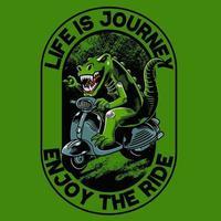 dinosauro con t-shirt scooter matic e abbigliamento design alla moda. buono per la grafica di t-shirt, poster, stampa e altri usi. l'animale antico sta guidando un motore classico vettore