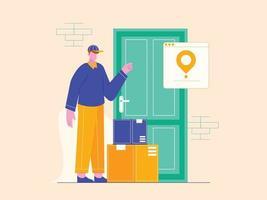 illustrazione vettoriale del concetto di uomo di consegna del servizio. il corriere lascia il pacco alla porta.