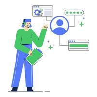 illustrazione della pagina del sito Web del servizio clienti. supporto tecnico operatore hotline femminile. vettore